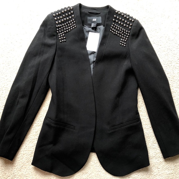 H&M Black Silver Studded Long Sleeve Blazer Jacket